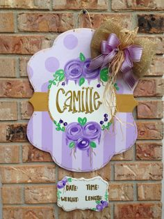 Baby oh baby!!! What better way to announce the newest addition than this baby girl announcement!! These door hangers by ByeByeBirdie are perfect for gender reveals, yard signs or hospital door announcements. Every piece is hand painted and weather sealed so no two signs are exactly alike. Bow colors and materials are customizable along with paint colors. If I dont have the color we can make it!!! Optional name can be painted on, vinyled on, hung under or a chalk board piece can be added…