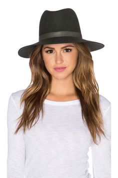 Janessa Leone Tate Hat in Olive & Olive Leather