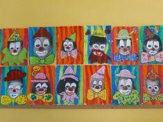portraits de clowns chez Béatrix: tribune libre - école petite section Clown Crafts, Circus Crafts, Carnival Crafts, Kids Carnival, Circus Art, Circus Theme, Painting For Kids, Art For Kids, Arts And Crafts Box