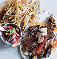 Coffee-rubbed rib-eye with shoestring sweet potato fries, mushroom sauce and radish salad | Woolworths TASTE