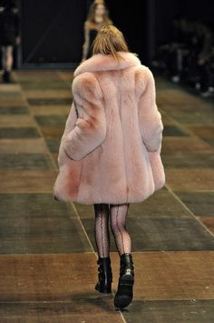 Saint Laurent Fall 2013 - Paris Fashion Week 3/17/15 This style and length of the fur coat was seen in the year 1958