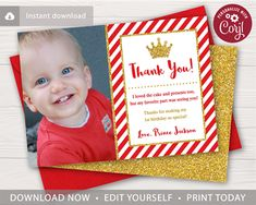 This editable and printable prince thank you card is perfect for a little boy's birthday party themed in red and gold! Prince Birthday Party, Boy Birthday, Birthday Parties, Birthday Ideas, Birthday Thank You Cards, History Page, Edit Online, My Favorite Part, Baby Shower Decorations