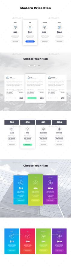 Horizontal \ Vertical Pricing Tables Pricing table, Template and - price chart template