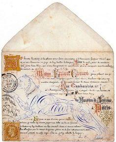 Calligraphies et enluminures sur enveloppe. 1868. Envelope Calligraphy (paris)