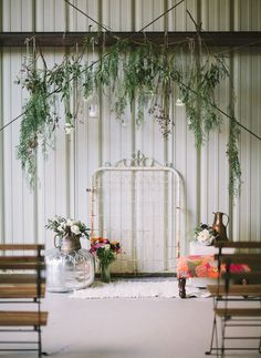 foliage + vintage bedpost backdrop