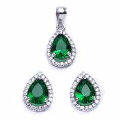 .925 Sterling Silver 2.50ct Pear Cut Simulated Emerald  #NiceJewelry