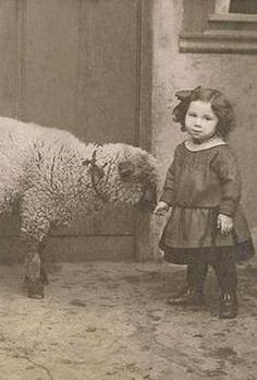 +~+~ Vintage Photograph ~+~+  Absolutely adorable girl and her lambie