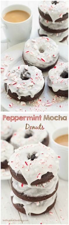 Peppermint Mocha Donuts. Healthier baked donuts with chocolate, coffee, and peppermint! | Kristine's Kitchen