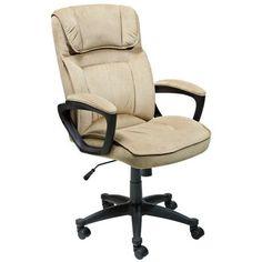 Serta Light Beige Microfiber Executive Office Chair -