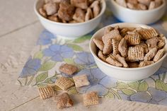 Churro Chex mix -- rice chex, cinnamon chips, butter, powdered sugar, granulated sugar, cinnamon