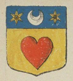 René COULARD, Escuyer, Sieur de Puyrenard. Porte : d'or, à un cœur de gueules, et un chef d'azur, chargé d'un croissant d'argent, acosté de deux molettes d'or   N° 128
