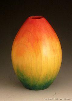 Carl Ford, Rainbow Vase - poplar, woodburst stains