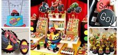 Montagem com imagens de decoração, bolo, doces e lembrancinhas para festa Blaze Monster Machine.