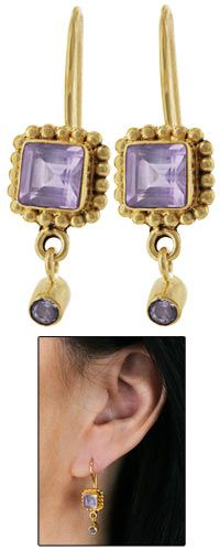 Only $19.95 -- Jaipur Amethyst Gold-Plated Earrings -- purchase benefits Animal Rescue via The Animal Rescue Site