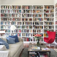 Stunning Home Library Ideas for Your Home. The love of reading is great, home library are awesome. However, the scattered books make the feeling less comfortable and the house a mess. Floor To Ceiling Bookshelves, Bookshelves In Bedroom, Room Shelves, Library Bookshelves, Corner Shelves, White Bookshelves, Wall Bookshelves, White Shelves, Fireplace Bookcase