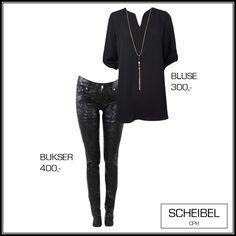 Chiffon shirt, black shirt, coatet jeans, slimfit jeans, Scheibel Cph