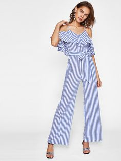 963289f770b Shop Flounce Cold Shoulder Self Belted Jumpsuit online. SHEIN offers  Flounce Cold Shoulder Self Belted Jumpsuit   more to fit your fashionable  needs.