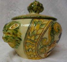 Vintage Italian Pottery  Cookie Jar. 19th c.  Majolica  Art Deco Noveau. Rare