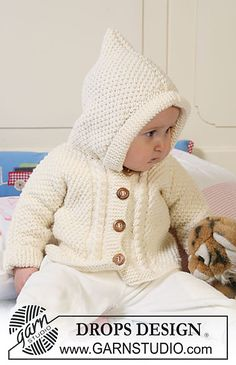 """Ravelry: b19-5 Jacket in seed st with hood, textured pattern, and cables in """"Merino Extra Fine"""" pattern by DROPS design"""
