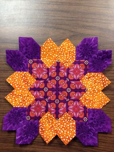Lucy Boston (POTC/Patchwork of the Crosses) quilt block #3 Done with English paper piecing. By Tracy Pierceall--2014