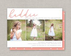 Custom Cards & Party Printables by announcingyou Baptism Pictures, Baptism Ideas, Baptism Invitations, Overnight Shipping, First Communion, Custom Cards, White Envelopes, Party Printables, Lds