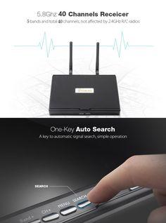 各社LCD5802S 5802 40CHレースバンド5.バッテリー内蔵の8G 7インチダイバーシティ受信機モニター