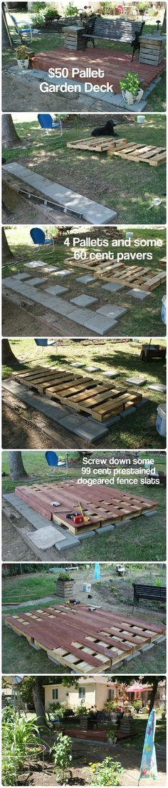 Inexpensive ground level deck to sit and overlook my veggie garden. The end tables are made from upcycled pallet wood also. Table lamps use blocks from pallets for the base and cheap walk lights from Home Depot.