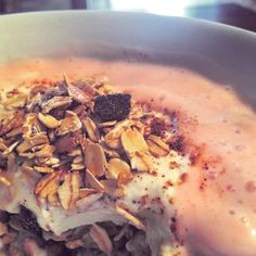 Fresh granola & yogurt, with fresh strawberry sorbet   #homemade #foodgasm #foodie #foodporn #culinaryarts #chill #nutrition #bigboyfood #granola #fruit #strawberry #chef #yogurt #baked