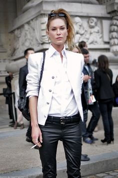 Always love Erin Wasson's style... #white #blazer #black #leather #pants #erin #wasson #model #fashion #clothing #street #style