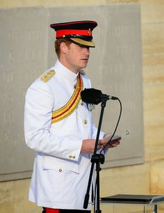 Prince of Wales Harry delivers a speech during the commemoration ceremony marking the 100th anniversary of the Canakkale Land Battles on April 24, 2015 at Cape Helles Memorial in Turkey.