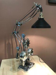 Harley Davidson lamp by Mark Shilkus Industrial Style Furniture, Industrial Desk, Desk Lamp, Table Lamp, Harley Davidson Parts, Man Cave Art, Steam Punk, Den, Lanterns