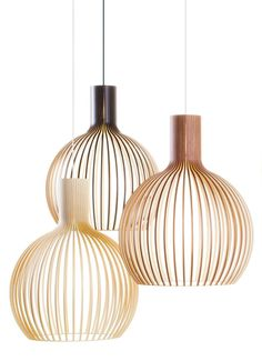 Secto Design is a Finnish company specializing in wooden designer lamps. The lamp shades are handmade from Finnish birch by highly skilled craftsmen. The designs by interior architect Seppo Koho have a clear and simple Scandinavian feel. Interior Lighting, Home Lighting, Modern Lighting, Lighting Design, Pendant Lighting, Pendant Lamps, Pendants, Deco Luminaire, Luminaire Design