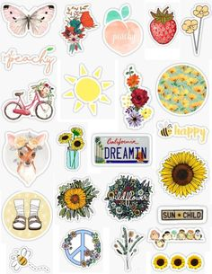 Spring Stickers Spring time sticker packs stickers sticker packs spring sticker pack flowers flower stickers, California dreamin bee happy bright colorful spring cleaning flowers peace flowers in a mason jar fruitstrawberries peachy sunflowers birds. Stickers Cool, Tumblr Stickers, Phone Stickers, Journal Stickers, Printable Stickers, Planner Stickers, Cactus Stickers, Happy Stickers, Snapchat Stickers