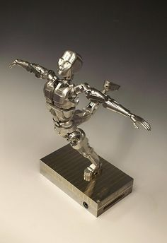 Handcrafted Animatronic Human Sculpture in Bronze and Stainless Steel by Mark Ho Human Sculpture, Robot Art, Industrial Table, Metal Art, Gears, Steampunk, Table Lamp, Bronze, Stainless Steel
