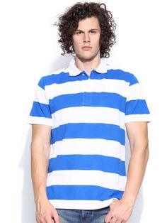 Dream of Glory Inc. White & Blue Striped Polo T-shirt