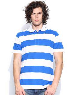Dream of Glory Inc. White & Blue Striped Polo T-shirt