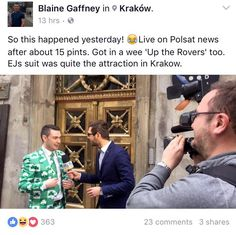 Sligo Native turns TV Sensation in Poland!! Blaine Gaffney caused quiet the stir in his Shamrock suit from EJ Menswear while on his stag in Kraków over the weekend!! Fair play to Blaine and the lads for flying the EJ's flag further afield!! Hopefully the suit survived the night!!