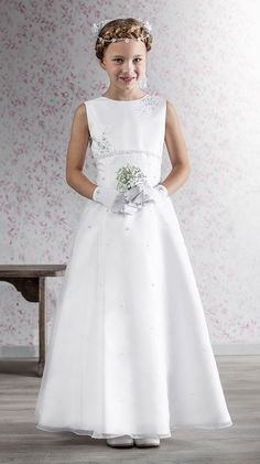 Emmerling First Communion Dress - 70131 - Elegant Full Length A-line Satin and Bugle Beads - Quite like this.