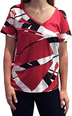 0fd17730603 Van Halen Store  Women s Loose Fit Stripes V-neck by TRUNK Eddie Van Halen
