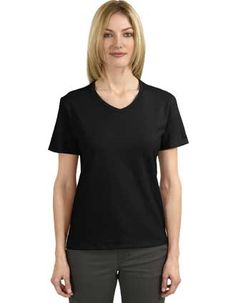 c74d086327b A womens t-shirt by Hanes is shaped for a more feminine look. This v-neck  has an exceptionally smooth hand thanks to ComfortSoft cotton.