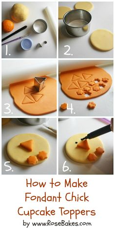 How to Make Fondant Chick Cupcake Toppers {Farm Animal Cupcake Toppers Series, Part 1} by Rose Bakes