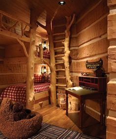 Maison de oufffff on pinterest log homes cabin and log for Log cabin style bunk beds