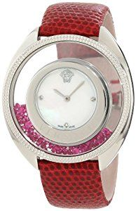 Simply Gorgeous Versace Women's 86Q971MD497 S800 Destiny Precious Mother-of-Pearl Stainless Steel Red Watch