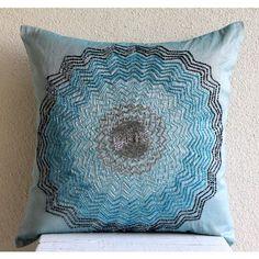 """Beaded Flower Blue Art Silk 16""""X16"""" Pillow Case - Blue Blast"""