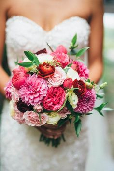 Lovely bouquet in shades of pink featuring Garden Roses, Dahlias, Ranunculus, Spray Roses, Lisianthus, Nagi greens, and Seeded Eucalyptus | Olive Photography