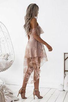 A-Line High Low Blush Sleeveless Lace Homecoming Dress-NBAdresses