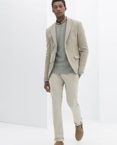 ZARA - MAN - STRUCTURED BLAZER WITH CONTRASTING ELBOW PATCHES