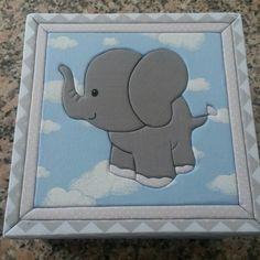 Caixa com patchwork embutido ELEFANTINHO