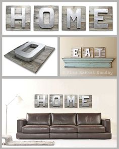 Large HOME Sign on Reclaimed Wood Dimensional Painted Letters. $210.00, via Etsy.