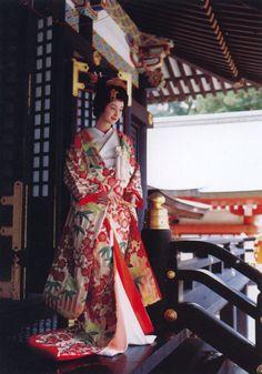 Japanese bride, after ceremony in red Japanese Wedding Kimono, Japanese Kimono, Japanese Pics, Japanese Things, Yukata, Kimono Chino, Silk Kimono, Geisha Japan, Japanese Costume